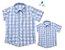 Kit camisa Cadú - Tal pai, tal filho (duas peças) | Xadrez Azul Claro | Fazendinha - Imagem 1