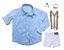 Conjunto Edu - Camisa Azul e Bermuda Branca (quatro peças) - Imagem 2