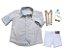 Conjunto Alec - Camisa Poá Bege e Bermuda Branca (quatro peças) | Pajem e Batizado - Imagem 2