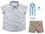 Conjunto Alec - Camisa Poá Bege e Bermuda Bege (quatro peças) | Pajem e Batizado - Imagem 1