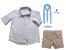 Conjunto Alec - Camisa Poá Bege e Bermuda Bege (quatro peças) | Pajem e Batizado - Imagem 2