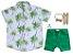 Conjunto Taylor - Camisa Palmeiras e Bermuda Verde  | 4 peças | Bege café - Imagem 1