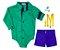 Conjunto Henrique - Camisa Verde e Bermuda Azul Royal (quatro peças) | Lego - Imagem 1