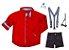 Conjunto Isaac - Camisa vermelha e Bermuda preta (quatro peças)  | Carros - Imagem 1