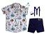 Conjunto Nico - Camisa Estampada e Bermuda Azul Marinho (quatro peças) | Náutico - Imagem 1