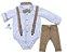 Conjunto Rocco - Camisa Branca e Calça Bege (quatro peças) | Batizado - Imagem 1