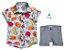 Conjunto Vavá - Camisa Peixinhos e Bermuda Cinza (duas peças) - Imagem 1