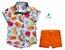 Conjunto Vavá - Camisa Peixinhos e Bermuda Laranja (duas peças) - Imagem 1