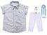 Conjunto Alec - Camisa Poá Bege e Calça Branca (quatro peças) | Batizado - Imagem 1