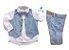 Conjunto Fausto - Calça Alfaiataria Linho, camisa, colete e acessórios (5 peças) | Linho Azul Claro - Imagem 2