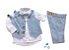 Conjunto Fausto - Calça Alfaiataria Linho, camisa, colete e acessórios (5 peças) | Linho Azul Claro - Imagem 1