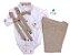 Conjunto Fausto - Calça Alfaiataria Linho, camisa branca com detalhes bege e acessórios (4 peças) | Bege Claro | Linho - Imagem 1