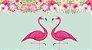 Painel de Festa Tropical Flamingo Coração - Imagem 1