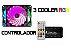 KIT 3 COOLERS RGB 12CM 1200 RPM RGB BLUECASE BFR-08RGB C/ CONTROLADOR  - Imagem 1
