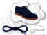 Cadarço de Sapato Azul Escuro Redondo Pol 90cm (Par) - Imagem 1