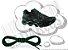 Cadarço de Tênis Pontilhado Preto e Verde Oval Pol 120cm (Par) - Imagem 1