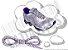 Cadarço de Tênis Pontilhado Branco e Roxo Oval Pol 120cm (Par) - Imagem 1
