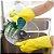 Par de Luvas de limpeza doméstica com esponja de lavar louça - Imagem 3