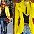 Blazer Amarelo Slim Fit Feminino Acinturado Social  - Imagem 1