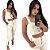 Conjunto Feminino calça com fenda Top  Cropped - Imagem 1