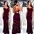 Vestido longo sereia renda Festa Marsala - Imagem 1
