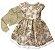 Vestido Infantil Bordado Dourado com Casaco de Pelo - Imagem 1