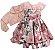 Vestido infantil Estampado Renda e Casaco de Pelo  - Imagem 1