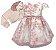 Vestido Infantil c/ Frufru na Cintura com Casaco Gola de Pelo - Imagem 1