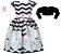 Vestido Infantil Casual Zigzag com bolero de pelo - Imagem 1