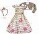 Vestido Infantil Básico c/ Estampa Listrada com Bolero de Pelo - Imagem 1