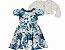 Vestido Infantil Casual Estampado c/ Gola Perola com Bolero de Pelo - Imagem 1