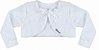 Vestido Infantil Bebê Batizado Branco c/ guipir na saia com bolero de pelo - Imagem 3