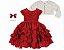 Vestido infantil Chic com Peito de Renda com Bolero de Pelo - Imagem 1
