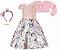 Vestido Infantil Chic Saia Gode com Bolero de Pelo - Imagem 1