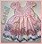Vestido Infantil flores rosas e azuis - Imagem 1