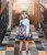 Vestido Infantil Azul com saia de cachorros - Imagem 2