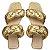 Rasteira Balaia MOD450 em couro Metal Ouro - Imagem 1