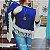 Poncho de crochê duas cores - azul - Imagem 3
