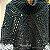 Poncho de crochê duas cores com gola - Imagem 1