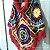Poncho de crochê colorido com gola - Imagem 2
