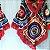 Poncho de crochê colorido com gola - Imagem 1