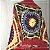 Poncho de crochê colorido com gola - Imagem 3