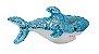 Pelúcia Tubarão Lantejoulas Azul 38cm  - Imagem 1