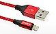 Cabo Lightining USB Preto com Vermelho - AÇO TRANÇADO - 1m - WOPOW - Modelo LB18 - Imagem 3