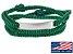 Pulseira de corda masculina verde com placa de aço inox - Imagem 1