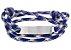 Pulseira de corda masculina azul com placa de aço inox - Imagem 1