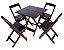 Conjunto 4 Cadeiras e 1 Mesa de Madeira Dobrável 70 x 70 - com pintura Imbuia - Imagem 1