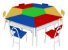 Mesas Angulares Com 1 Cadeira De Ferro Vermelha ao - Imagem 2