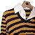 Blusa de Linha Listrada Azul Marinho e Mostarda  - Imagem 2