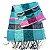 Echarpe estampado verde/preto/rosa com franja - Imagem 1